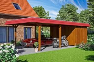 SKAN HOLZ Carport Wendland 409 x 870 cm mit Abstellraum, mit Aluminiumdach, rote Blende, nussbaum