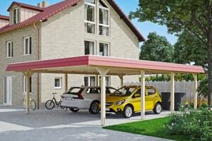 SKAN HOLZ Carport Wendland 630 x 879 cm mit Aluminiumdach, rote Blende