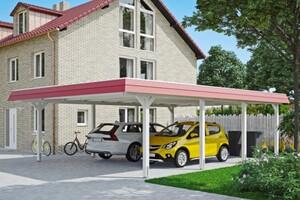 SKAN HOLZ Carport Wendland 630 x 879 cm mit Aluminiumdach, rote Blende, weiß