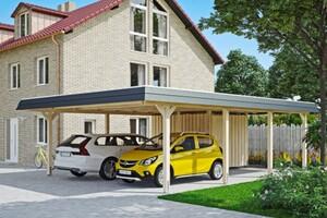 SKAN HOLZ Carport Wendland 630 x 879 cm mit Abstellraum, mit Aluminiumdach, schwarze Blende