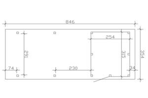 SKAN HOLZ Carport Emsland 354 x 846 cm mit EPDM-Dach, mit Abstellraum, eiche hell