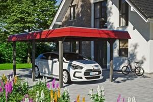 SKAN HOLZ Carport Wendland 362 x 628 cm mit EPDM-Dach, rote Blende, schiefergrau