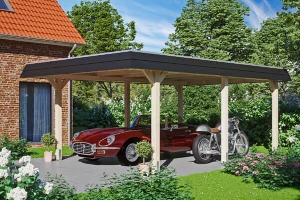 SKAN HOLZ Carport Wendland 409 x 628 cm mit Aluminiumdach, schwarze Blende