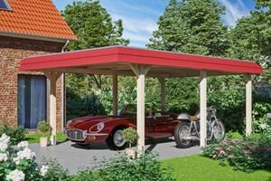 SKAN HOLZ Carport Wendland 409 x 628 cm mit EPDM-Dach, rote Blende