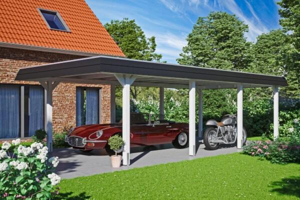 SKAN HOLZ Carport Wendland 409 x 870 cm mit EPDM-Dach, schwarze Blende, weiß