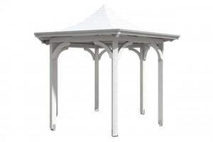 SKAN HOLZ Pavillon Versailles Größe Ø 418 cm, lasiert in weiß