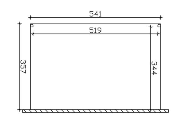 SKAN HOLZ Terrassenüberdachung Modena Größe 541 x 357 cm, Pulverbeschichtet in weiß RAL 9016