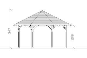 SKAN HOLZ Pavillon Lyon Größe 3 - Ø 557 cm, lasiert in nussbaum