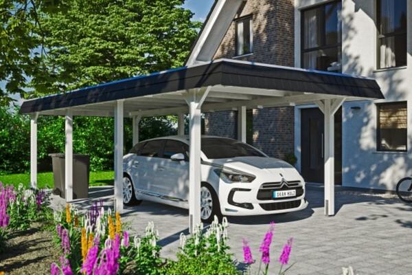 SKAN HOLZ Carport Wendland 362 x 870 cm mit Aluminiumdach, schwarze Blende, weiß