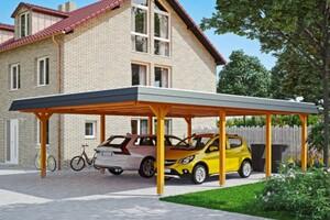 SKAN HOLZ Carport Wendland 630 x 879 cm mit Aluminiumdach, schwarze Blende, eiche hell