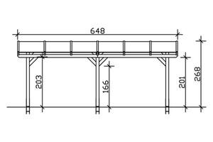 SKAN HOLZ Terrassenüberdachung Siena Größe 648 x 350 cm, lasiert in nussbaum