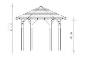 SKAN HOLZ Pavillon Colmar Größe 1 - Ø 360 cm, lasiert in nussbaum