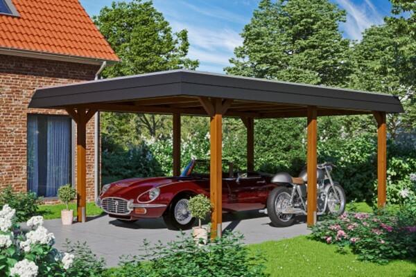 SKAN HOLZ Carport Wendland 409 x 628 cm mit Aluminiumdach, schwarze Blende, nussbaum