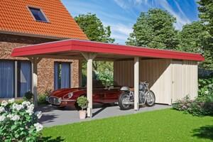 SKAN HOLZ Carport Wendland 409 x 870 cm mit Abstellraum, cm mit Aluminiumdach, rote Blende