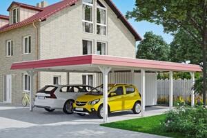 SKAN HOLZ Carport Wendland 630 x 879 cm mit Abstellraum, mit Aluminiumdach, rote Blende, weiß