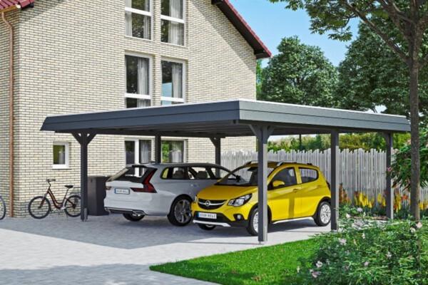 SKAN HOLZ Carport Wendland 630 x 637 cm mit Aluminiumdach, schwarze Blende, schiefergrau