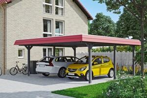 SKAN HOLZ Carport Wendland 630 x 637 cm mit Aluminiumdach, rote Blende, schiefergrau