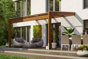 SKAN HOLZ Terrassenüberdachung Novara Größe 450 x 359 cm, lasiert in nussbaum