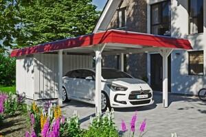 SKAN HOLZ Carport Wendland 362 x 870 cm mit Abstellraum, mit Aluminiumdach, rote Blende, weiß