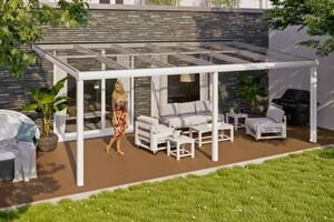 SKAN HOLZ Terrassenüberdachung Monza Größe 648 x 257 cm, Pulverbeschichtet in weiß RAL 9016