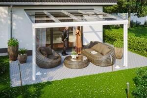 SKAN HOLZ Terrassenüberdachung Modena Größe 434 x 357 cm, Pulverbeschichtet in weiß RAL 9016