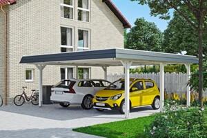 SKAN HOLZ Carport Wendland 630 x 637 cm mit EPDM-Dach, schwarze Blende, weiß