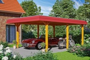 SKAN HOLZ Carport Wendland 409 x 628 cm mit Aluminiumdach, rote Blende, eiche hell