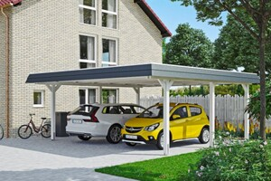 SKAN HOLZ Carport Wendland 630 x 637 cm mit Aluminiumdach, schwarze Blende, weiß