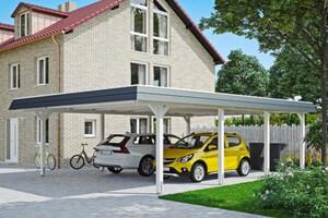 SKAN HOLZ Carport Wendland 630 x 879 cm mit Aluminiumdach, schwarze Blende, weiß