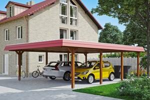 SKAN HOLZ Carport Wendland 630 x 879 cm mit Aluminiumdach, rote Blende, nussbaum