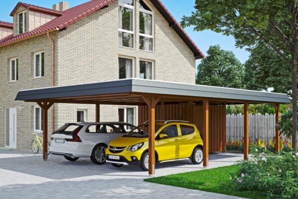 SKAN HOLZ Carport Wendland 630 x 879 cm mit Abstellraum, mit EPDM-Dach, schwarze Blende, nussbaum