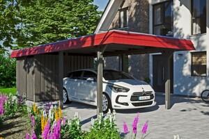 SKAN HOLZ Carport Wendland 362 x 870 cm mit Abstellraum, mit Aluminiumdach, rote Blende, schiefergrau