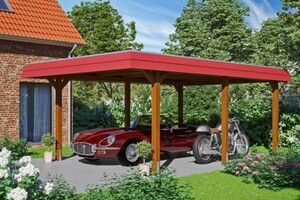 SKAN HOLZ Carport Wendland 409 x 628 cm mit Aluminiumdach, rote Blende, nussbaum
