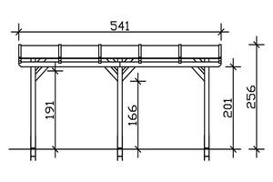 SKAN HOLZ Terrassenüberdachung Siena Größe 541 x 250 cm, lasiert in schiefergrau
