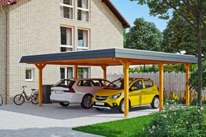 SKAN HOLZ Carport Wendland 630 x 637 cm mit Aluminiumdach, schwarze Blende, eiche hell