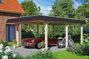 SKAN HOLZ Carport Wendland 409 x 628 cm mit EPDM-Dach, schwarze Blende