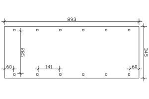 SKAN HOLZ Carport Spreewald 345 x 893 cm mit EPDM-Dach, rote Blende