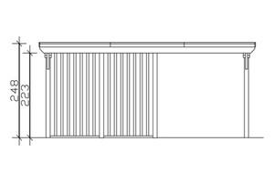 SKAN HOLZ Carport Emsland 613 x 846 cm mit Aluminiumdach, mit Abstellraum, nussbaum