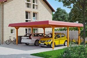 SKAN HOLZ Carport Wendland 630 x 637 cm mit EPDM-Dach, rote Blende, eiche hell