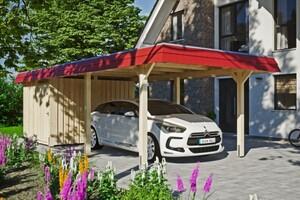 SKAN HOLZ Carport Wendland 362 x 870 cm mit Abstellraum, mit Aluminiumdach, rote Blende