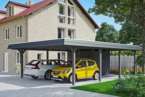 SKAN HOLZ Carport Wendland 630 x 879 cm mit Abstellraum, mit Aluminiumdach, schwarze Blende, schiefergrau