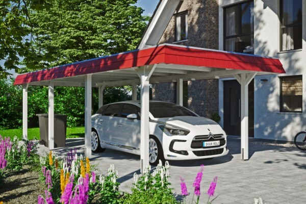 SKAN HOLZ Carport Wendland 362 x 870 cm mit EPDM-Dach, rote Blende, weiß