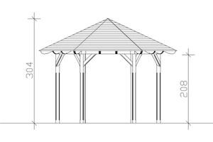 SKAN HOLZ Pavillon Colmar Größe 2 - Ø 420 cm, lasiert in nussbaum
