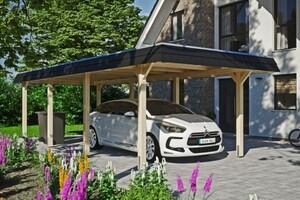 SKAN HOLZ Carport Wendland 362 x 870 cm mit Aluminiumdach, schwarze Blende