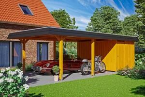 SKAN HOLZ Carport Wendland 409 x 870 cm mit Abstellraum, mit Aluminiumdach, schwarze Blende, eiche hell