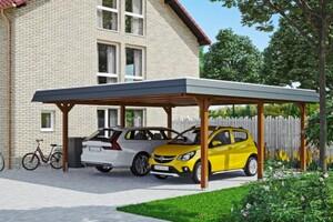 SKAN HOLZ Carport Wendland 630 x 637 cm mit Aluminiumdach, schwarze Blende, nussbaum