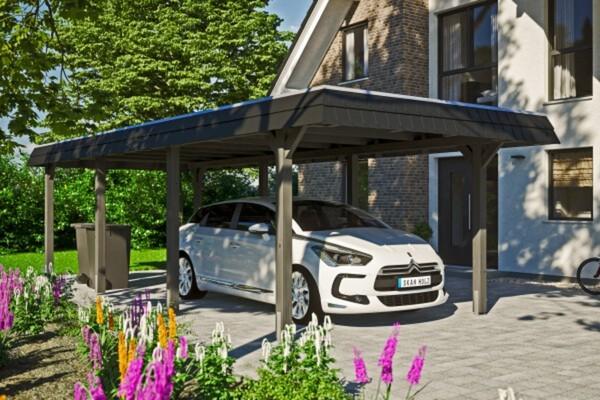 SKAN HOLZ Carport Wendland 362 x 870 cm mit Aluminiumdach, schwarze Blende, schiefergrau