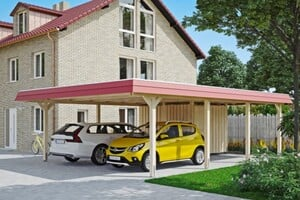 SKAN HOLZ Carport Wendland 630 x 879 cm mit Abstellraum, mit EPDM-Dach, rote Blende