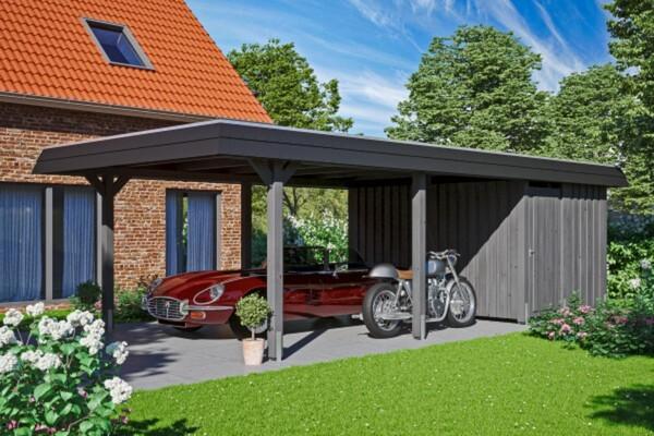 SKAN HOLZ Carport Wendland 409 x 870 cm mit Abstellraum, mit Aluminiumdach, schwarze Blende, schiefergrau