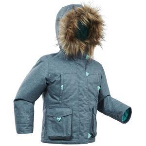 Winterjacke Parka SH500 U-Warm Wasserdicht Kinder Mädchen 92–116 grau